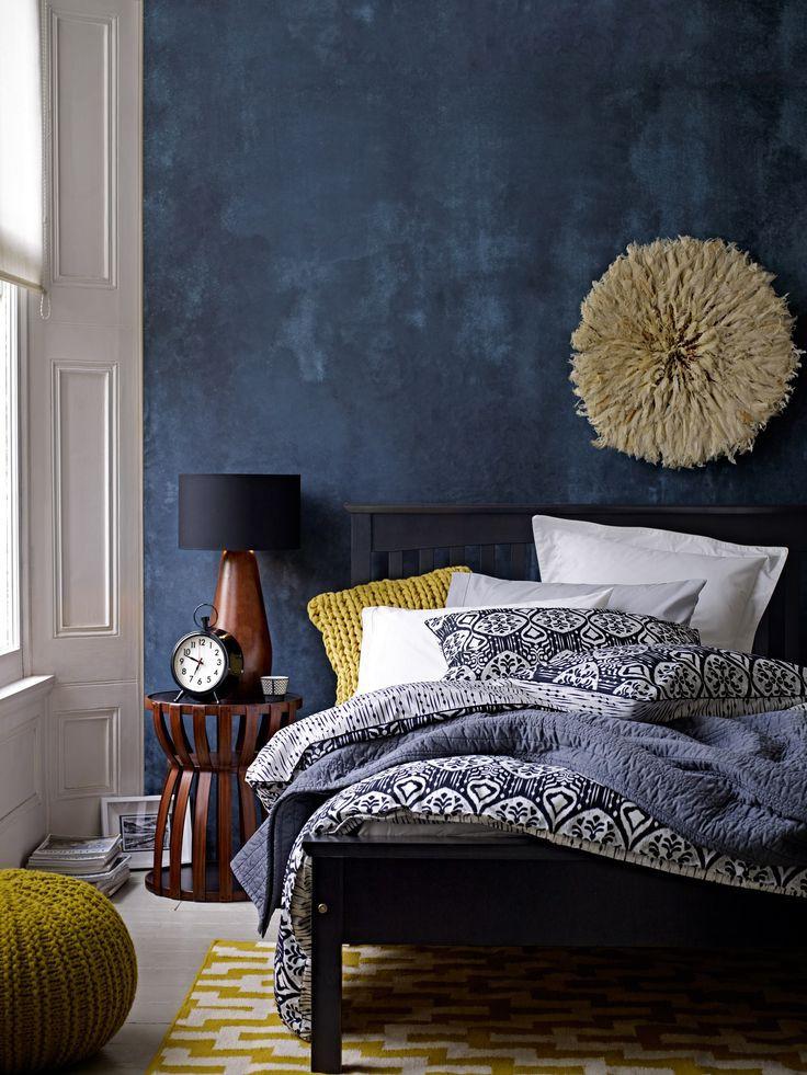 Papel de Parede azul no quarto