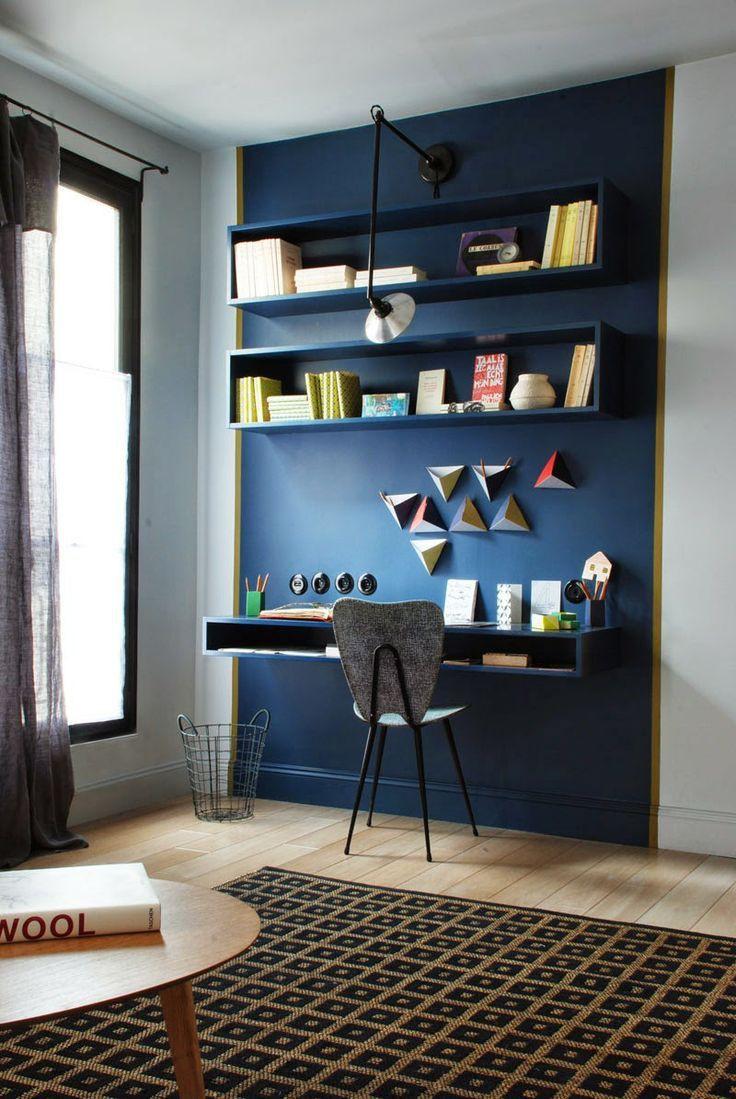 Escritório com cartela de cor azul
