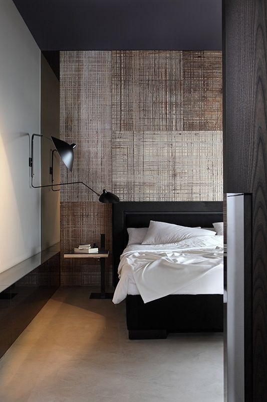 Papel de parede com textura no quarto