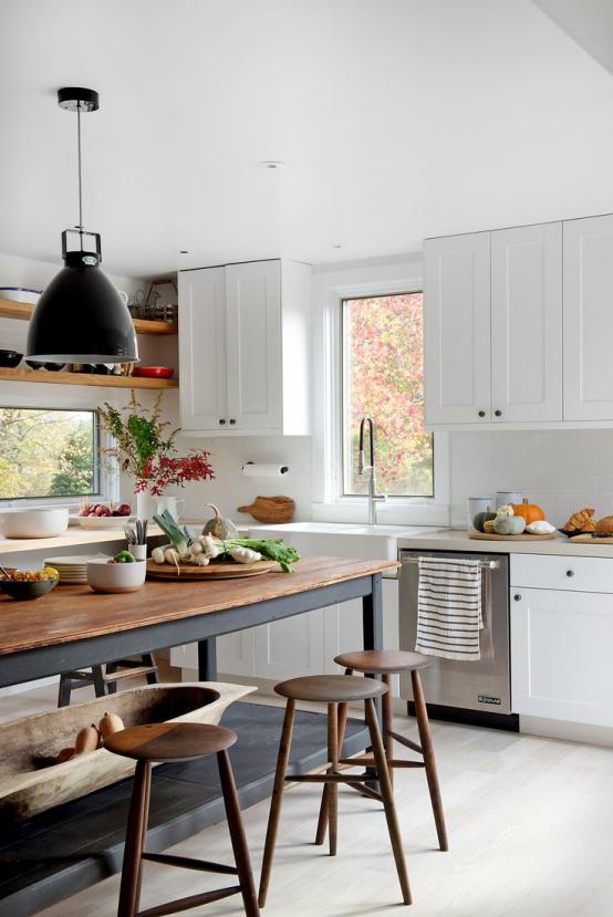 Cozinha com decoração moderna e vintage